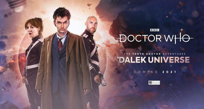 In Doctor Who: Dalek Universe, the Doctor (David Tennant) must ally himself with Space Security Service Agents Kingdom (Jane Slavin) and Seven (Joe Sims) (c) Big Finish Productions Tenth Doctor Audio Drama