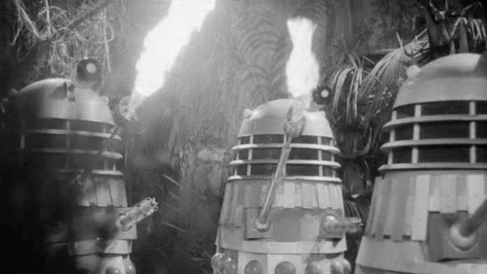 The Daleks burn the jungles of Kembel in The Daleks' Master Plan (c) BBC Studios Doctor Who Terry Nation 1960s Dalek Flamethrower
