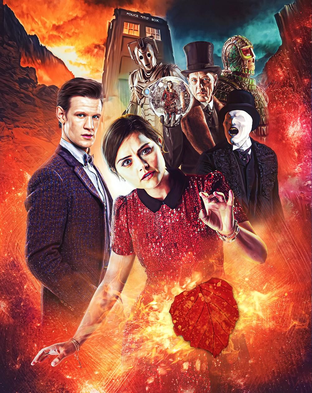 Doctor Who: The Complete Seventh Series Steelbook. Interior art by Lee Binding (c) BBC Studios Eleventh Doctor Amy Pond Clara Oswald Jenna Coleman Karen Gillan Matt Smith