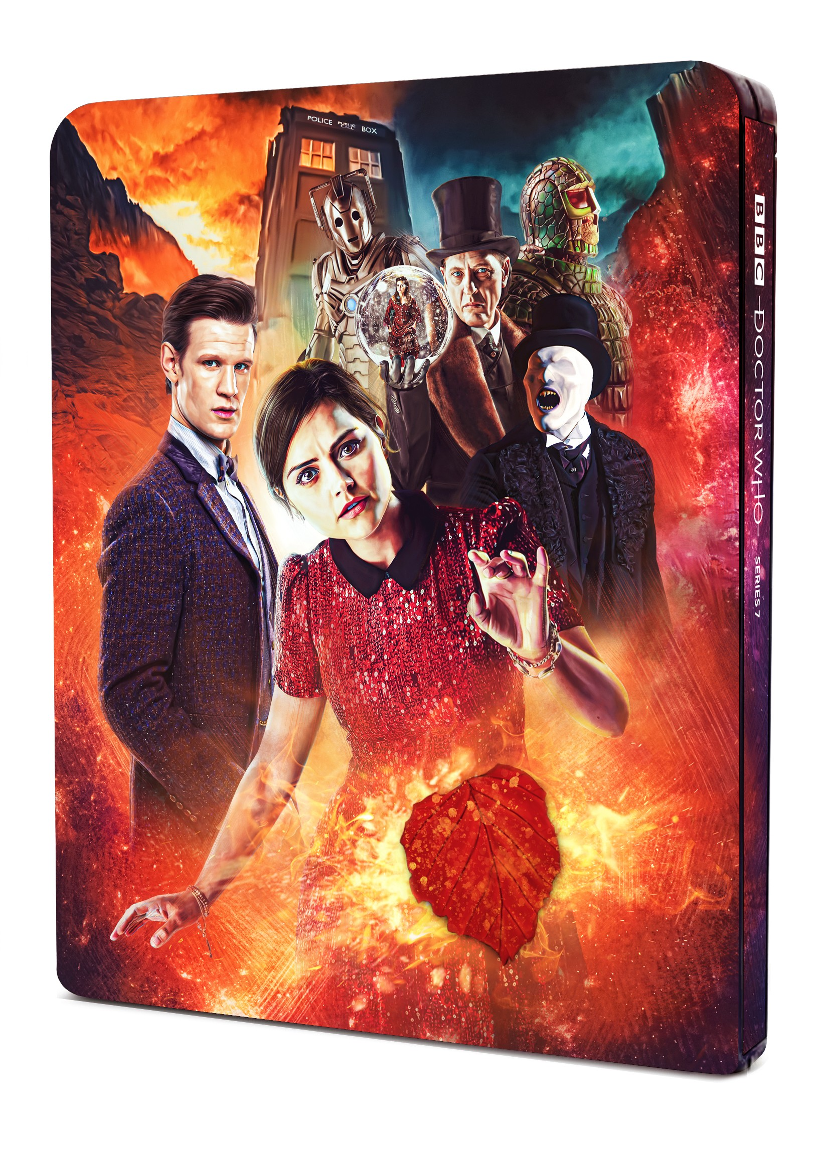 Doctor Who: The Complete Seventh Series Steelbook. Interior art by Lee Binding (c) BBC Studios Eleventh Doctor Amy Pond Clara Oswald Jenna Coleman Karen Gillan Matt Smith