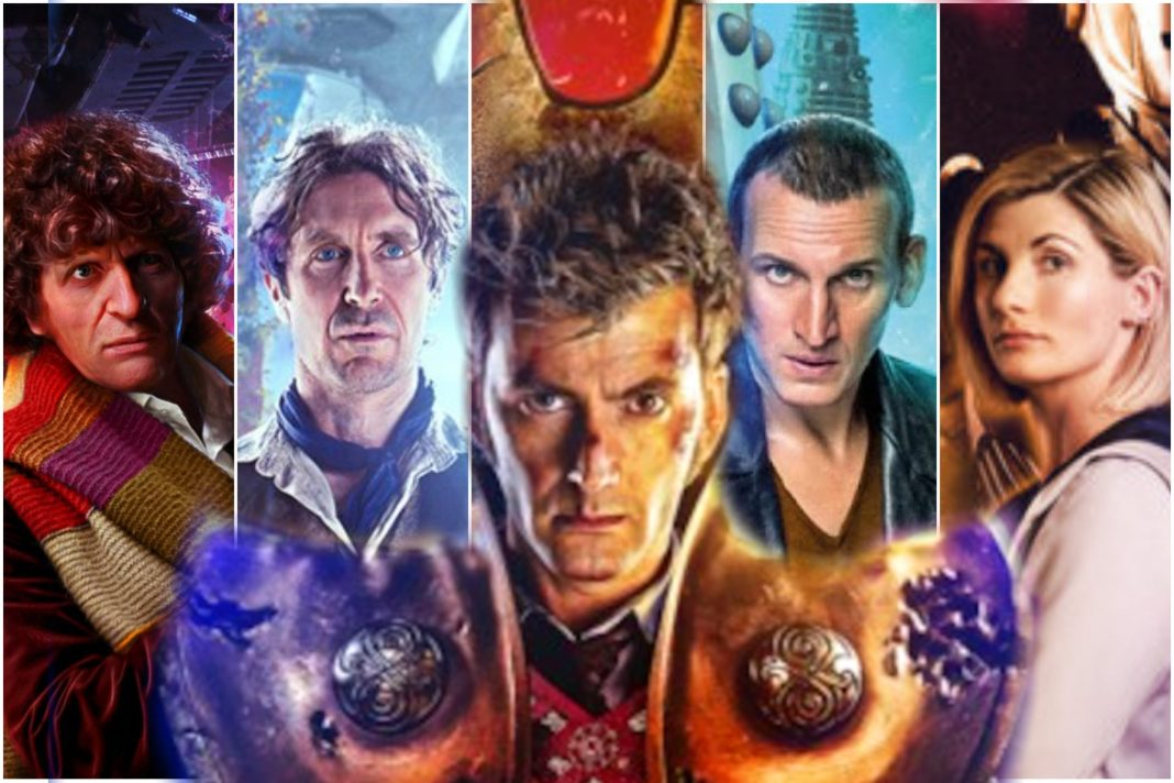 The five Doctors who feature in Time Lord Victorious (c) BBC Studios/Big Finish/BBC Books/Maze Theory Doctor Who Tenth Doctor Ninth Doctor Eighth Doctor Fourth Doctor Thirteenth Doctor David Tennant Paul McGann Tom Baker Jodie Whittaker