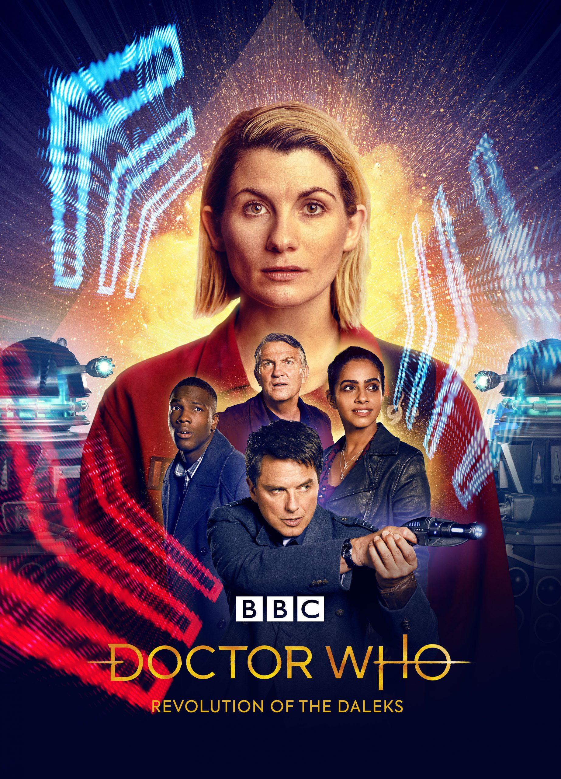 Picture Shows: The Doctor (JODIE WHITTAKER), Captain Jack Harkness (JOHN BARROWMAN), Graham O'Brien (BRADLEY WALSH), Yasmin Khan (MANDIP GILL), Ryan Sinclair (TOSIN COLE), Daleks. Revolution of the Daleks Doctor Who