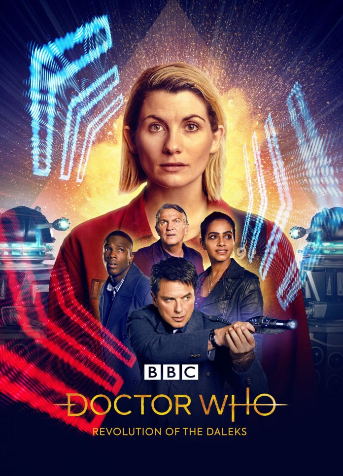 Revolution of the Daleks pits the Doctor (Jodie Whittaker), Captain Jack (John Barrowman), Graham (Bradley Walsh), Yaz (Mandip Gill), and Ryan (Tosin Cole) against the might of the Daleks (c) BBC Studios Doctor Who Thirteenth Doctor Captain Jack Harkness