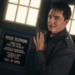 Captain Jack Harkness (John Barrowman) is back in the box for Revolution of the Daleks - (C) BBC Studios - Photographer: James Pardon Doctor Who Torchwood TARDIS Police Box