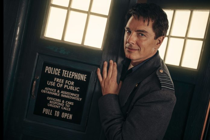 Captain Jack Harkness (John Barrowman) is back in the box for Revolution of the Daleks - (C) BBC Studios - Photographer: James Pardon Doctor Who Torchwood TARDIS Police Box