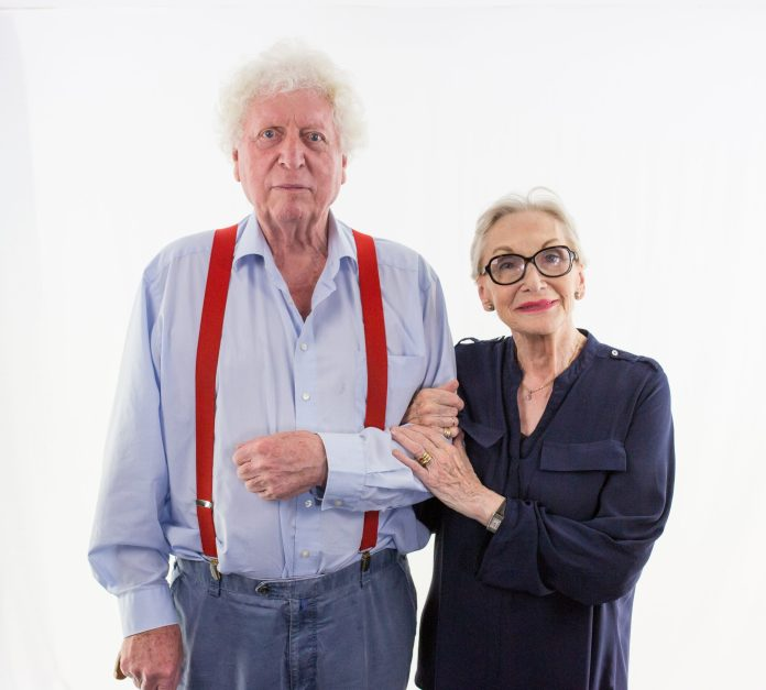 Tom Baker (The Doctor) and Siân Phillips (The Director) during recording for The World Traders (c) Big Finish Productions Doctor Who Fourth Doctor Adventures Series 10