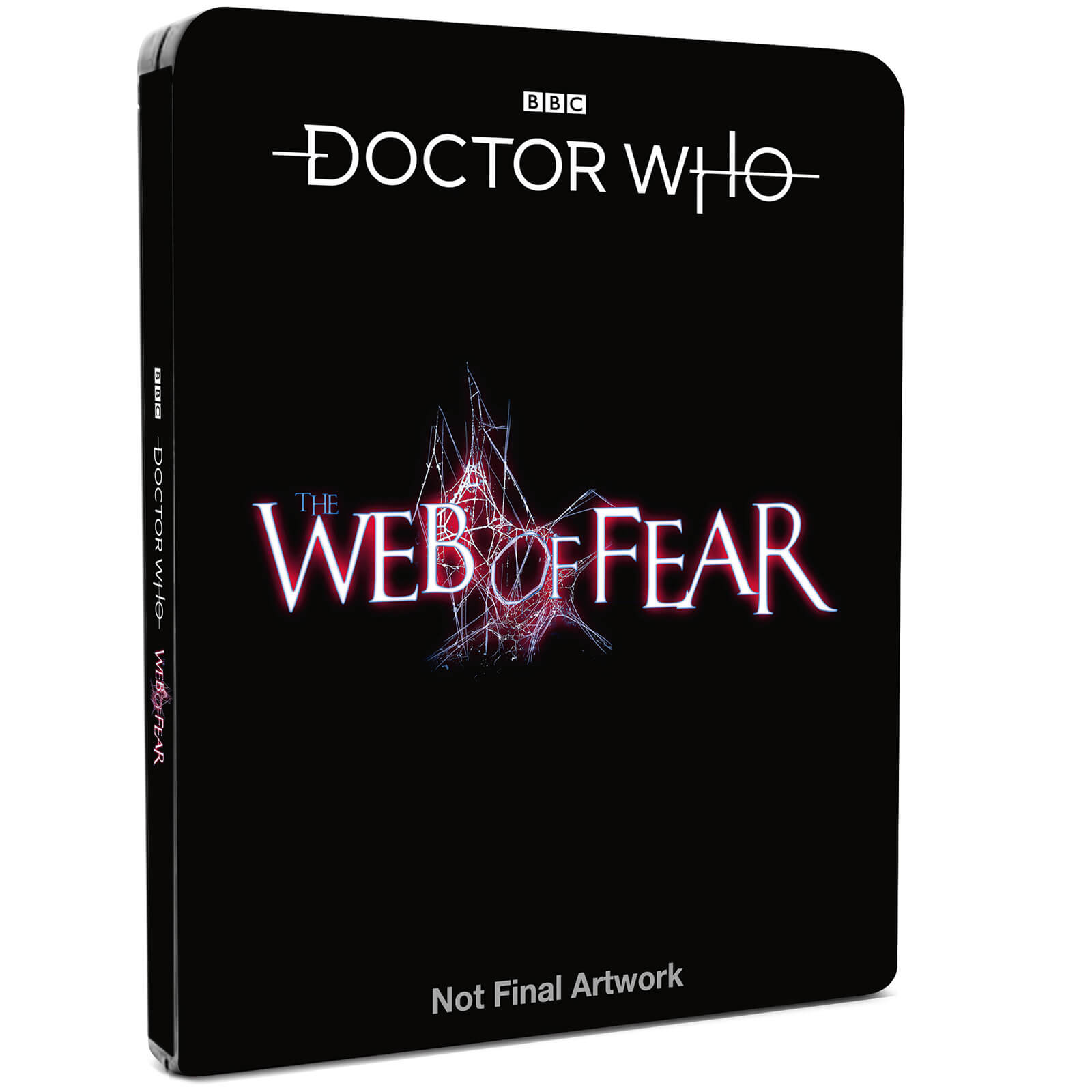 The placeholder cover for the Web of Fear steelbook (c) BBC Studios Doctor Who Second Doctor Patrick Troughton Victoria Waterfield Jamie McCrimmon Yeti Great Intelligence Blu-ray