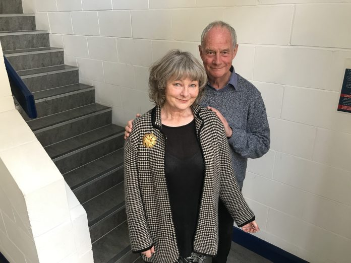 Abigail McKern and Geoffrey Beevers at the recording of Masterful (c) Big Finish Productions Doctor Who The Master