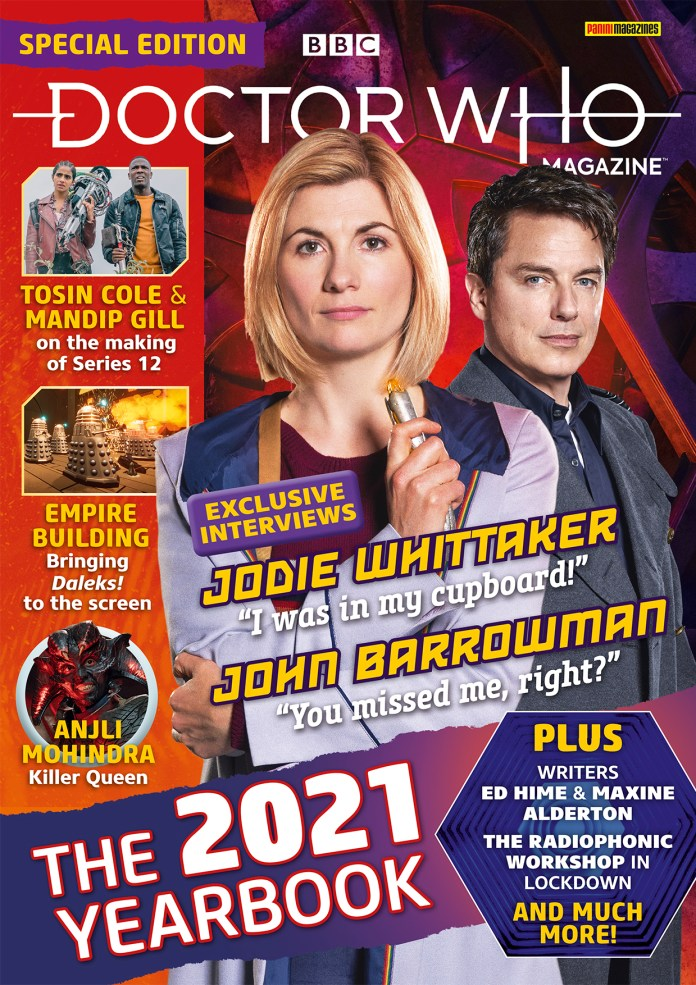 The Doctor Who Magazine 2021 Yearbook (c) Panini Captain Jack Harkness DWM Thirteenth Doctor John Barrowman Jodie Whittaker Radiophonic Workshop Yaz Ryan Mandip Gill Tosin Cole
