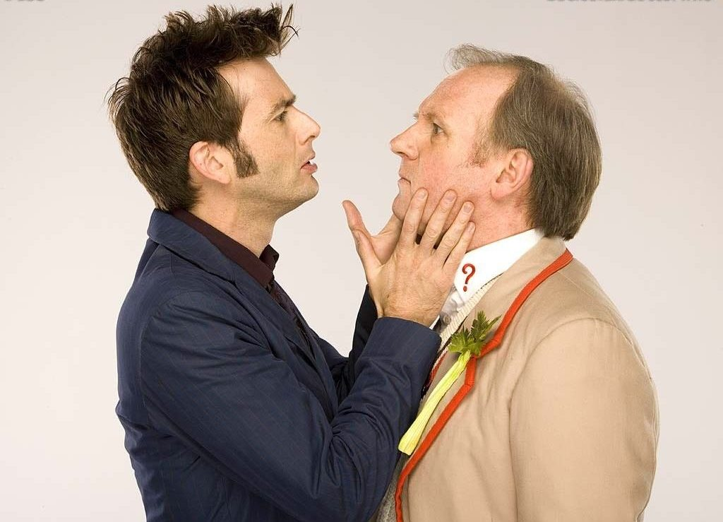 David Tennant and Peter Davison in Time Crash c) BBC Studios Doctor Who Fifth Doctor Tenth Doctor Out of Time Big Finish Children in Need