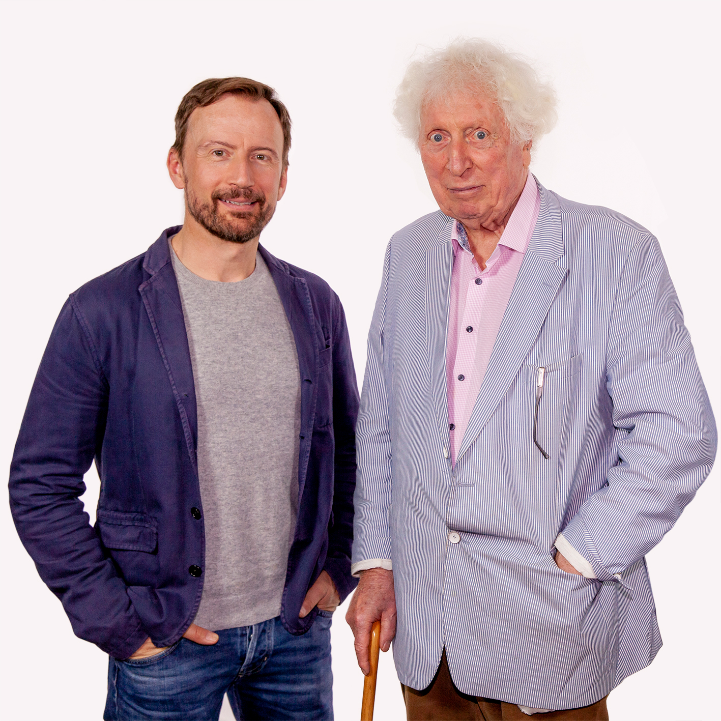 Anthony Howell (Alan Turing) and Tom Baker (The Doctor) (c) Paul Midcalf Doctor Who Fourth Doctor Worlds Beyond