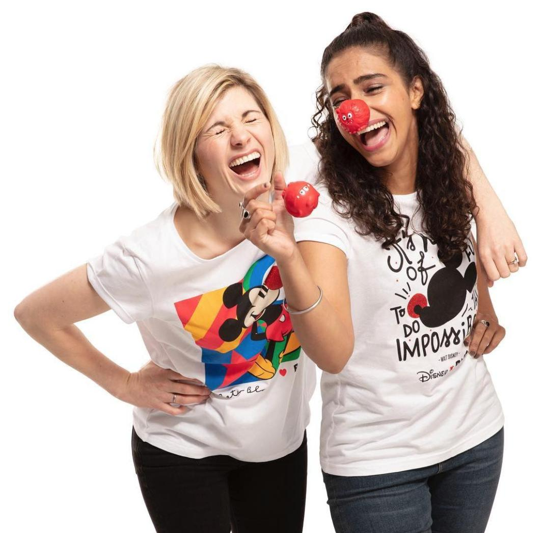 Jodie Whittaker and Mandip Gill campaigning for Comic Relief's Red Nose Day (c) Comic Relief Doctor Who Thirteenth Doctor Yaz