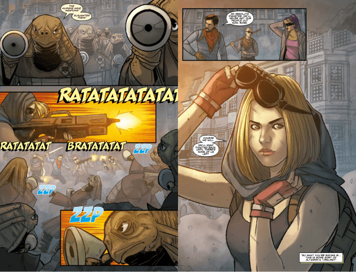 Doctor Who Alternating Current Pages 12 and 13. Art by Roberta Ingranata. (c) Titan Comics Doctor Who Comic Jody Houser Rose Tyler Sea Devils Apocalyptic London