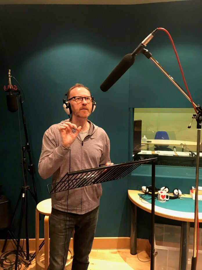 Mark Gatiss at the recording of The Box of Delights (c) Big Finish Productions