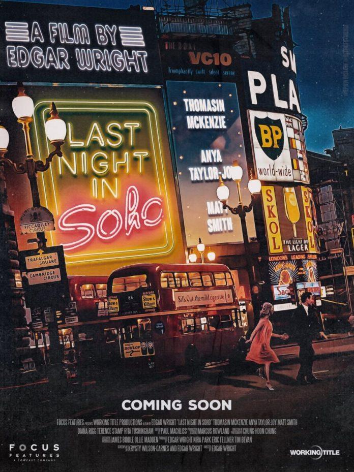 Last Night in Soho Poster (c) Focus Features Matt Smith Ann Taylor-Joy Thomasin McKenzie Doctor Who Eleventh Doctor Edgar Wright