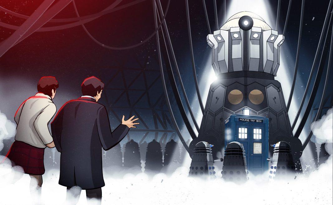 Doctor Who: The Evil of the Daleks. Steelbook cover. (c) BBC Studios Animation Second Doctor Patrick Troughton Jamie MacCrimmon Frazer Hines Emperor Dalek