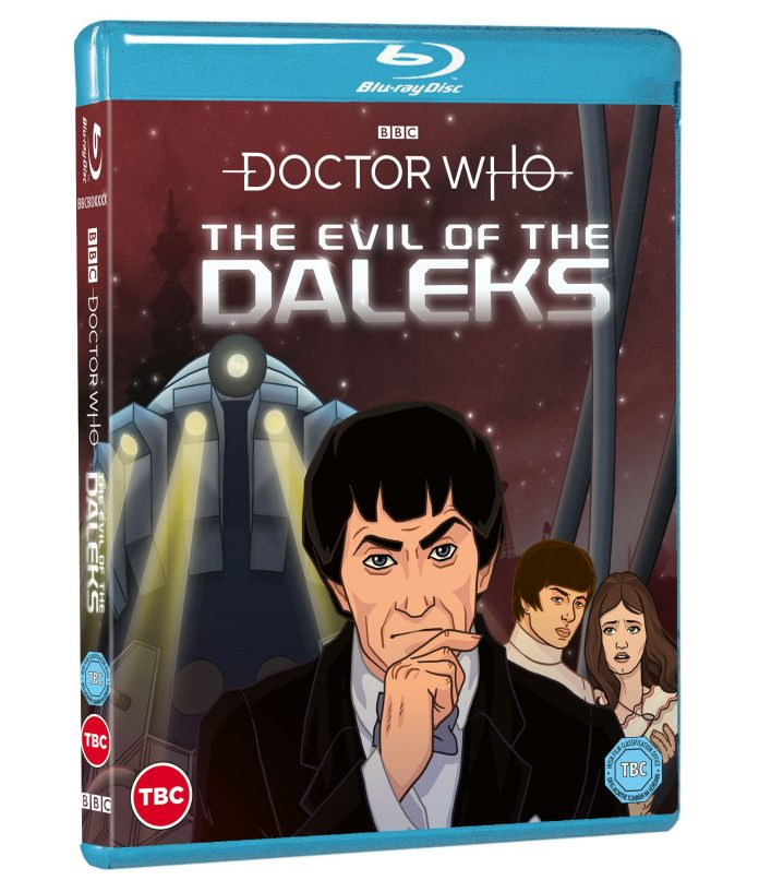 Doctor Who: The Evil of the Daleks Blu-ray cover. (c) BBC Studios Second Doctor Patrick Troughton Jamie MacCrimmon Victoria Waterfield Emperor Dalek Animation
