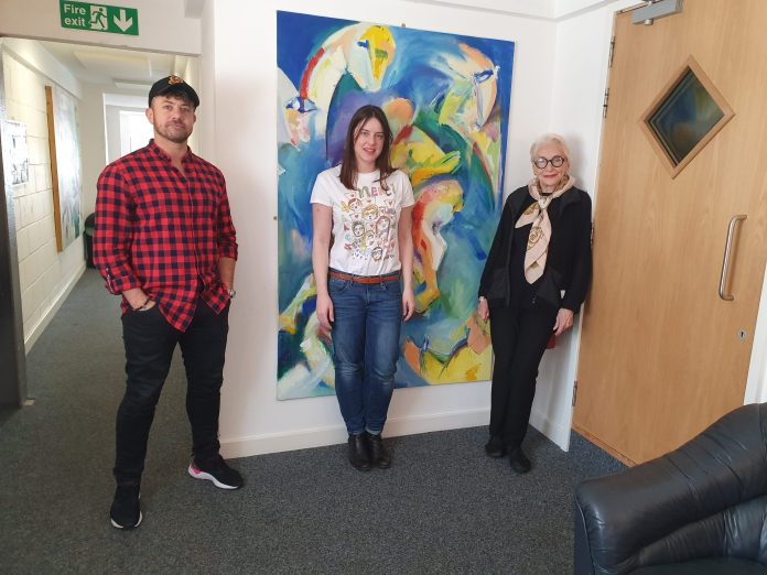 Warren Brown (Sam Bishop), Michelle Ryan (Lady Christina), Siân Phillips (Lady Eugenia) at the recording of Lady Christina Series Two (c) Big Finish Doctor Who Planet of the Dead UNIT