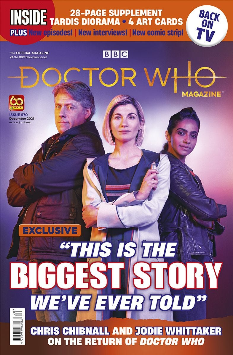 Doctor Who Magazine 570 (c) Panini Thirteenth Doctor Jodie Whittaker Mandip Gill Yaz Khan John Bishop Dan Lewis Flux Series 13