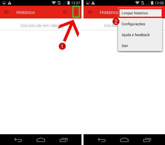 Como excluir pesquisas no YouTube pelo celular