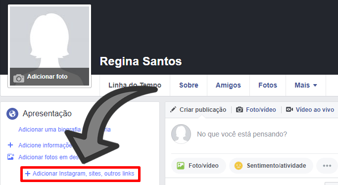 adicionar link do instagram no facebook