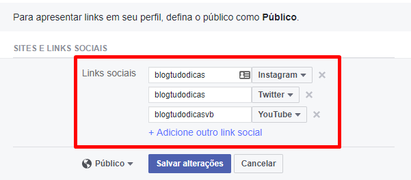 como colocar instagram no perfil do facebook