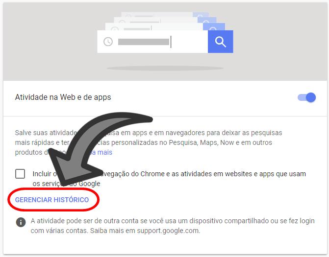 Como Excluir Histórico de Pesquisa Google