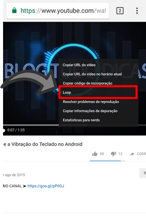 Replay video YouTube celular agora
