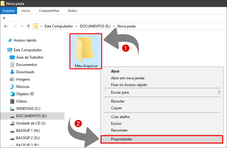 como esconder pasta no windows 10