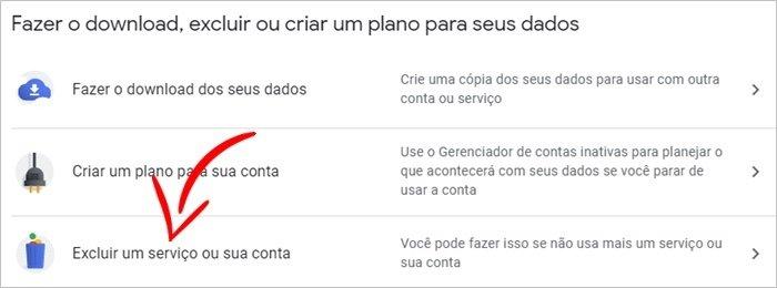 Encerrar serviço Google