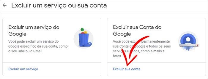 Apagar minha conta Google