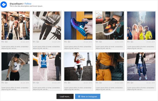 Exemple de galerie de flux Instagram