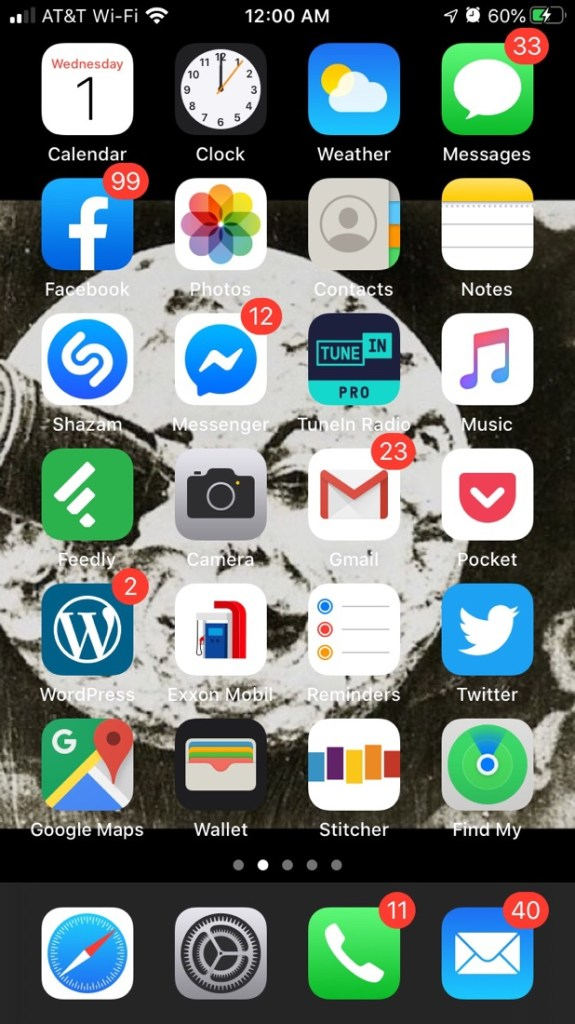 January  1, 2020 iPhone Home Screen