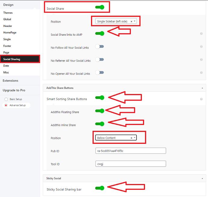 AMP for WP Social Sharing settings