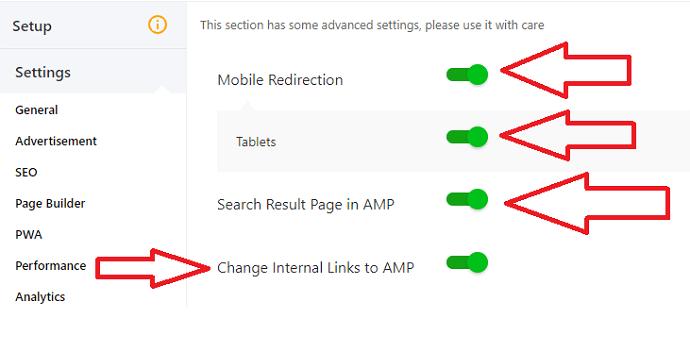 AMP for WP advance settings configuration