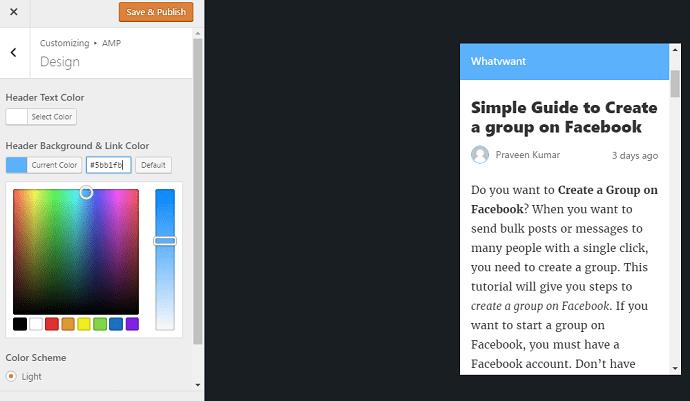 change header color amp pages