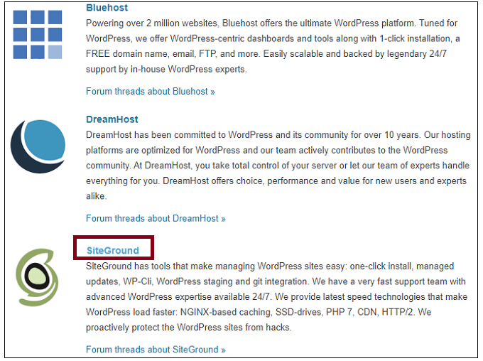 WordPress.org-Webpage-recommending-SiteGround-and-other-hosting-companies