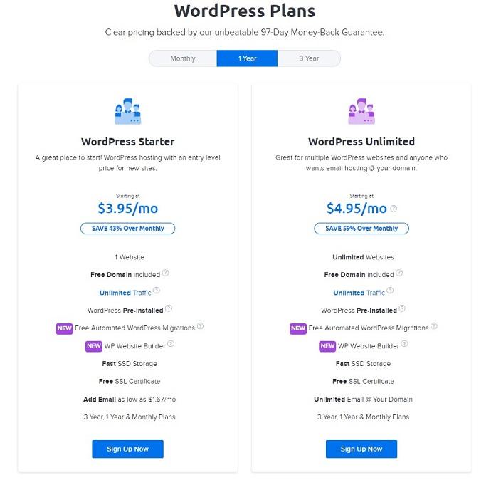 Dreamhost WordPress plans