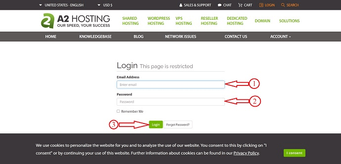 Login to A2Hosting