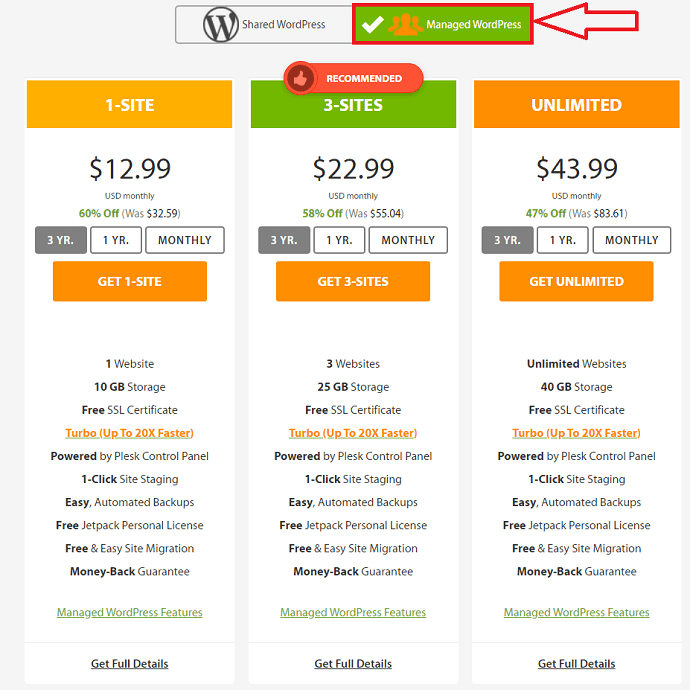 Managed WordPress prices in A2hosting