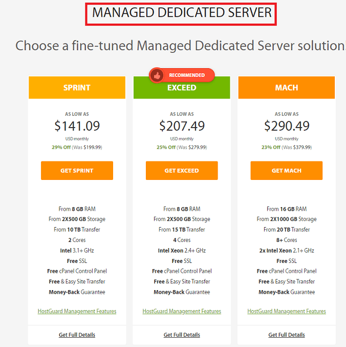 Managed dedicated server prices in A2hosting