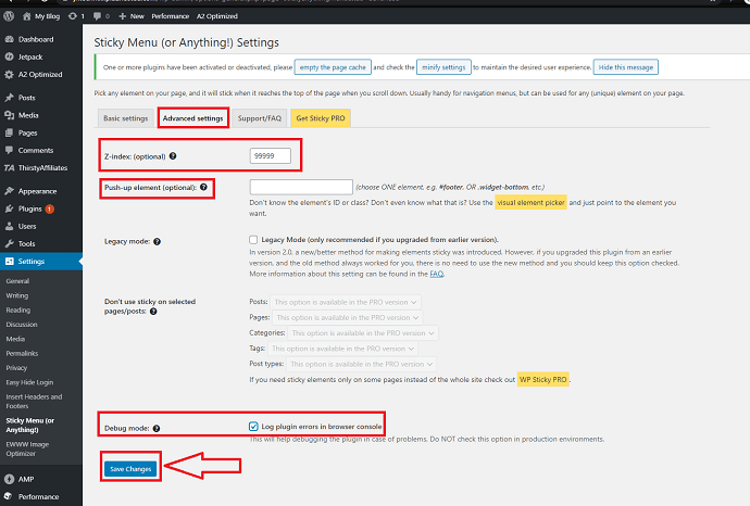 Step 5 Open the advanced settings tab and configure