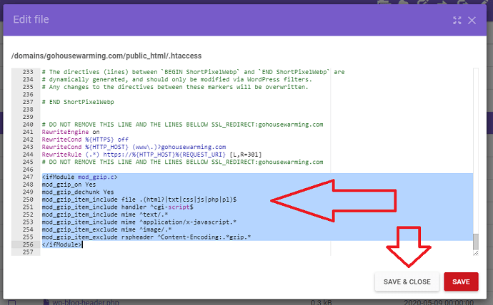 Step 5 Edit the htaccess code