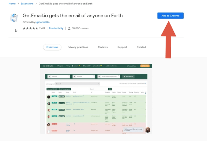 Step 1 Install GetEmail.io Chrome Extension