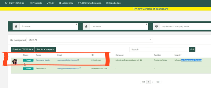 Step 3 Go back to GetEmail.io Dashboard