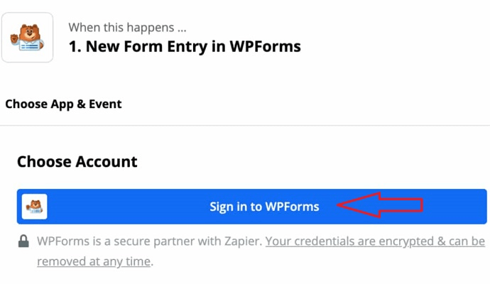 Step 8 Initiate a connection between Zapier and WPForms