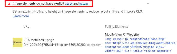 CLS Error Image elements do not have explicit width and height - Google Page Speed