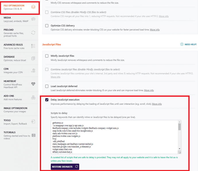 Delay unused javascripts that affecting the LCP score with the WP-Rocket plugin
