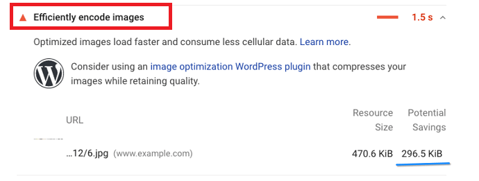 Google pagespeed suggest to efficiently encode images - Improve LCP