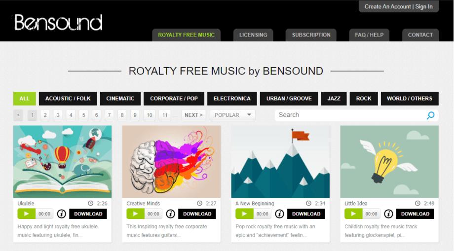 Website 4 - Bensound.com